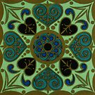 Green abstract pillow by Gilberte
