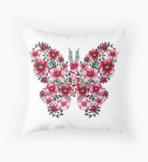 Watercolor Floral Butterfly with Bright Red Flowers and Deep Green Leaves Throw Pillow