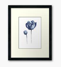 Peony Navy Nursery Watercolor Painting Blue Flower Drawing Framed Print
