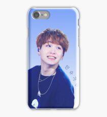 Smiling 'Min Suga' Blue and White Print iPhone Case/Skin