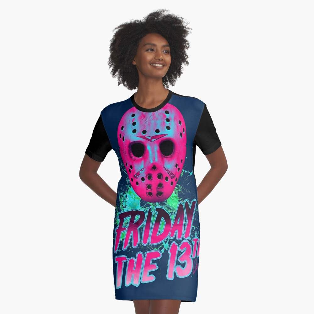 FRIDAY THE 13TH Neon V Vestido camiseta