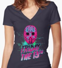 FRIDAY THE 13TH Neon V Women's Fitted V-Neck T-Shirt