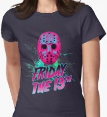 FRIDAY THE 13TH Neon V Womens Fitted T-Shirt