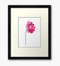 Peony Kids Room Poster Abstract Illustration Raspberry Decor Framed Print