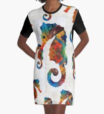 Colorful Seahorse Collage Art by Sharon Cummings Graphic T-Shirt Dress