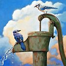 «Blue Jays on Old Water Pump Pájaro realista retrato animal pintura» de LindaAppleArt