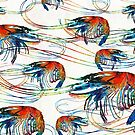 Bright Colorful Shrimp Collage Art by Sharon Cummings by Sharon Cummings