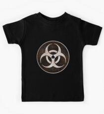 Aged and Beaten Biohazard White on Black - Apocalypse Geek Kids Clothes