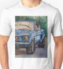 Vintage blue pony car antique muscle Unisex T-Shirt