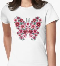 Watercolor Floral Butterfly with Bright Red Flowers and Deep Green Leaves Womens Fitted T-Shirt