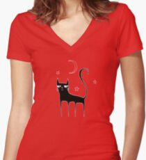 A Black Cat Women's Fitted V-Neck T-Shirt