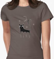 A Black Cat Womens Fitted T-Shirt