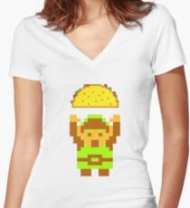 Link and a taco Women's Fitted V-Neck T-Shirt