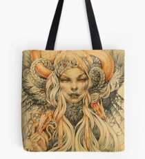 Eerie lady with golden snakes Tote Bag