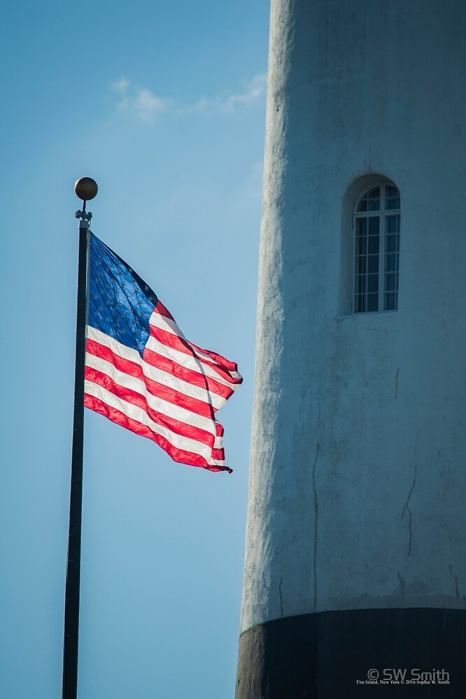 American Flag By The Lighthouse Window | Fire Island, New York by © Sophie W. Smith