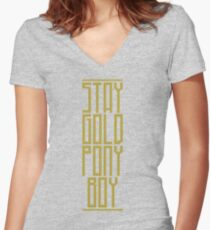 STAY GOLD PONYBOY Women's Fitted V-Neck T-Shirt