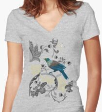 Flowers & Tui - Grey Women's Fitted V-Neck T-Shirt