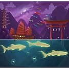 Junk Ship and Glow Sharks by TeaToucan