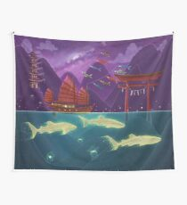 Junk Ship and Glow Sharks Wall Tapestry