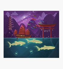 Junk Ship and Glow Sharks Photographic Print
