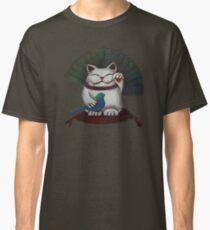 White Maneki Neko with a blue bird Classic T-Shirt