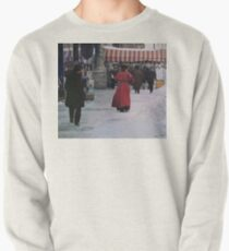 Woman in red Pullover Sweatshirt