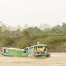 Ferry on the Chindwin 3 by Werner Padarin