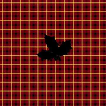 Red Tartan Plaid with Holly Silhouette by sfcount