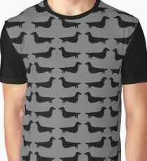 Long Haired Dachshund Silhouette Graphic T-Shirt
