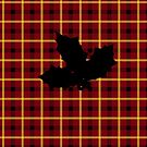 Red Tartan Plaid with Holly Silhouette by Sarah Countiss