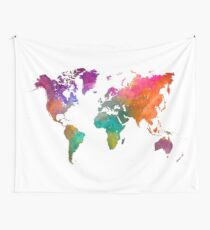 World map in watercolor 25 Wall Tapestry