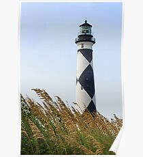 Cape Lookout Lighthouse and Sea Oats Poster