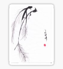 Japanese sumi e style original pine design by Henrik Lee Sticker