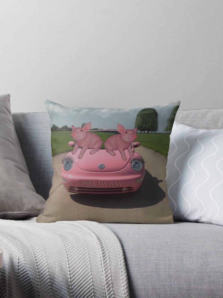 OINK MY WAY PIGS VW THROW PILLOW by ✿✿ Bonita ✿✿ ђєℓℓσ