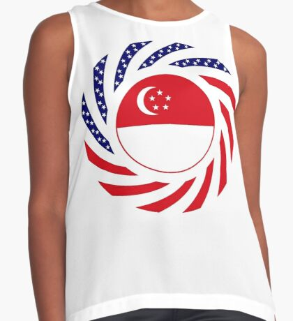 Singapore American Multinational Patriot Flag Series Sleeveless Top