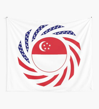 Singapore American Multinational Patriot Flag Series Wall Tapestry