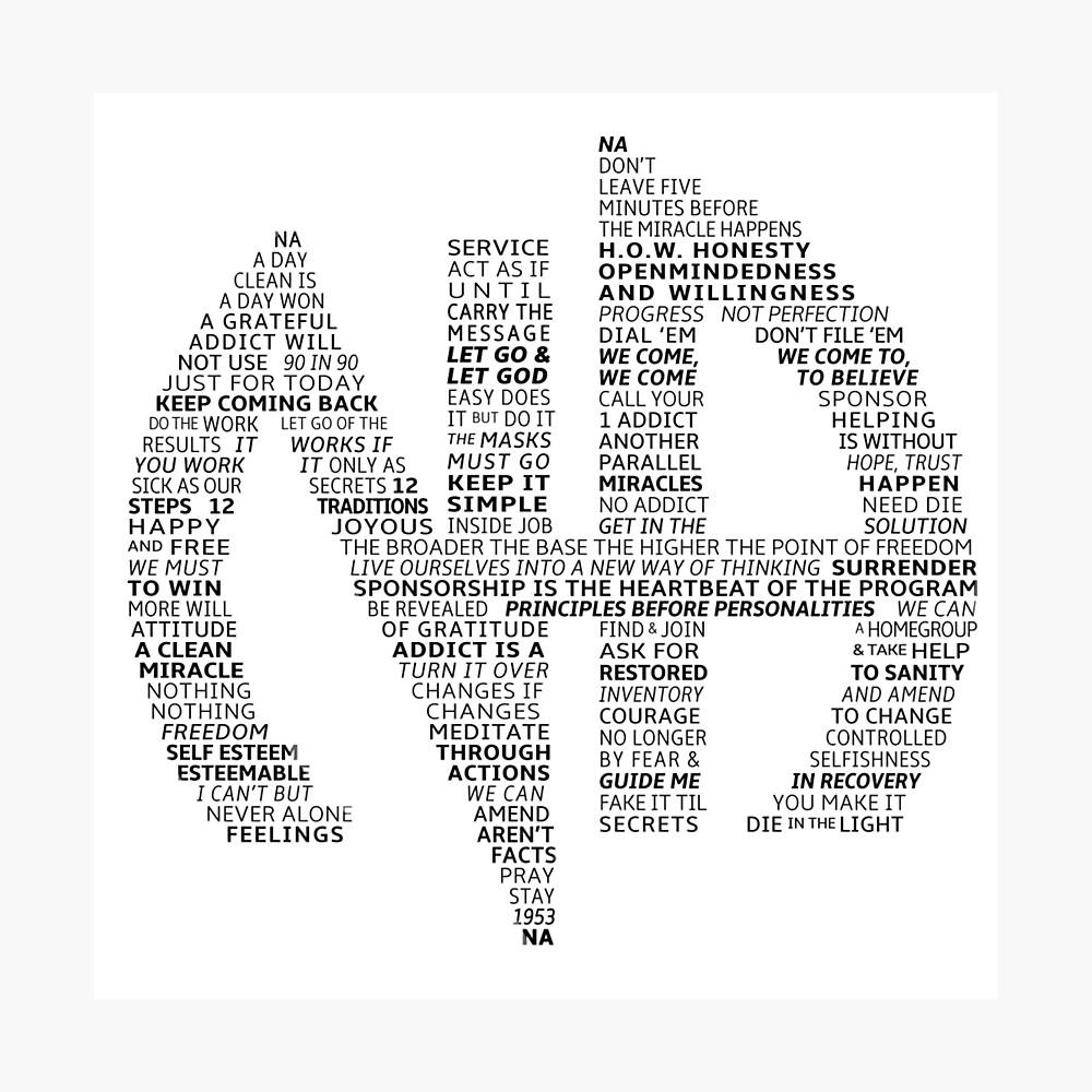 Logotipo de Narcóticos Anónimos (en lemas) Lámina fotográfica