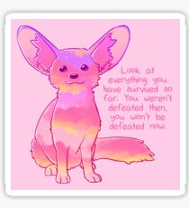 """You Won't Be Defeated Now"" Fennec Fox Sticker"