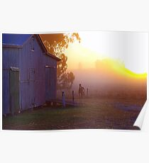 Dawn on the old barn Poster