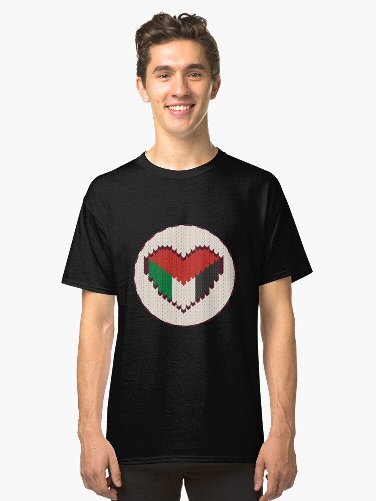 Palestine knitted heart  Classic T-Shirt Front