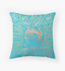Wolf mandala Throw Pillow