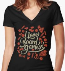 I Love Board Games Women's Fitted V-Neck T-Shirt