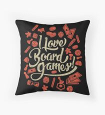 I Love Board Games Throw Pillow