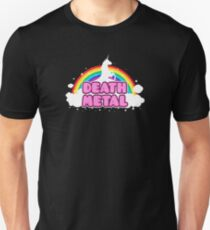 DEATH METAL! (Funny Unicorn / Rainbow Mosh Parody Design) Slim Fit T-Shirt