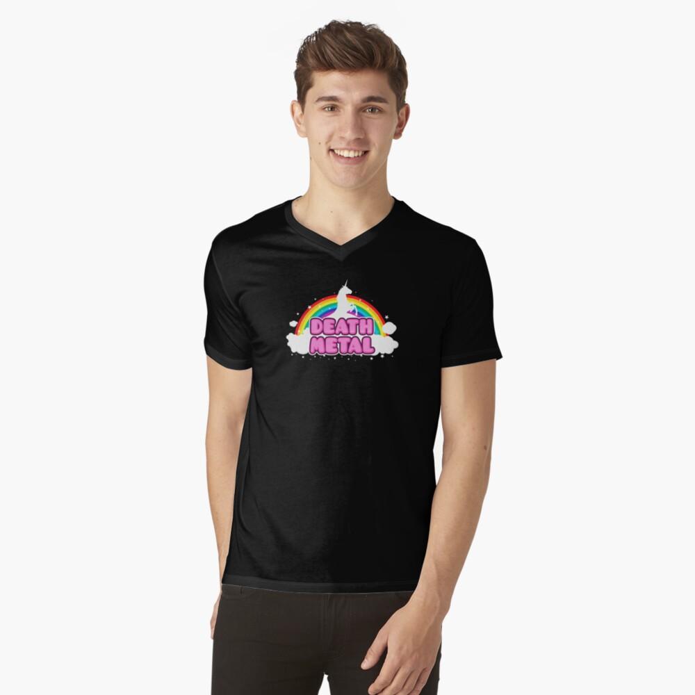 DEATH METAL! (Funny Unicorn / Rainbow Mosh Parody Design) T-Shirt mit V-Ausschnitt