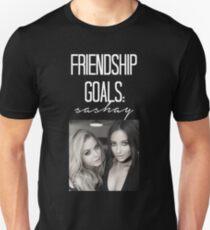Freundschaftsziele; Sashay-- Weiß Slim Fit T-Shirt
