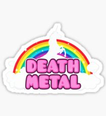 HEAVY METAL! (Funny Unicorn / Rainbow Mosh Parody Design) Sticker