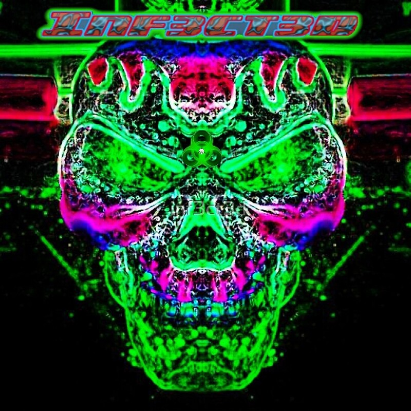 quotradioactive trippy skullquot posters by inf3ct3d redbubble