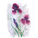 Irises in snow, painted in gouache. by miroshina