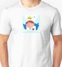 Small boy sleeping in bed and dreaming about airplane T-Shirt